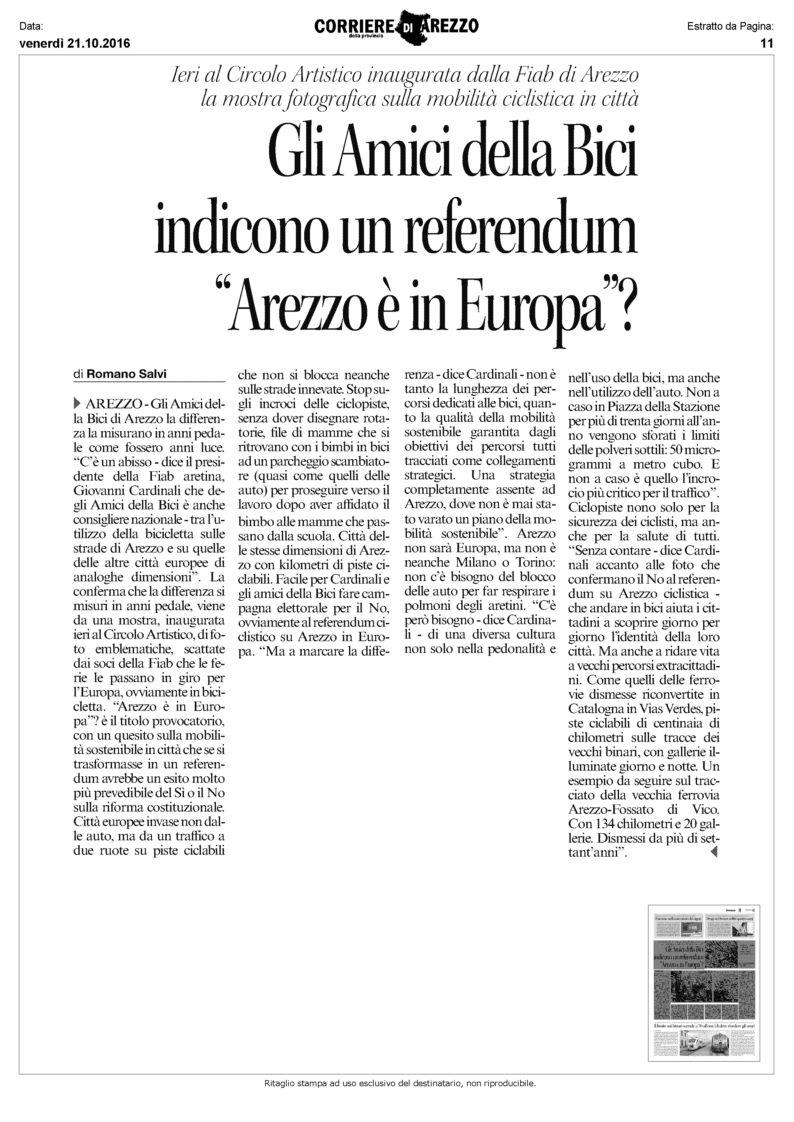 mostra Arezzo articolo Corriere Aretino 21102016